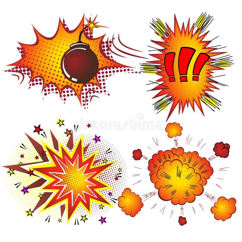 减速火箭的漫画书传染媒介景气爆炸 向量例证