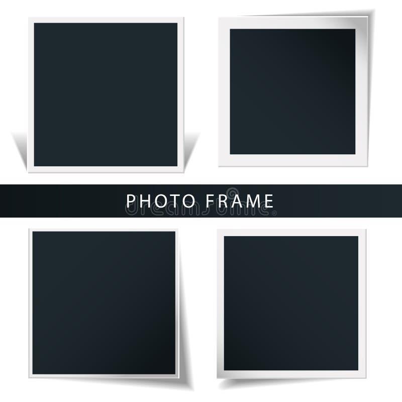 减速火箭的照片框架的自转的概念的汇集在白色背景中隔绝的 向量例证