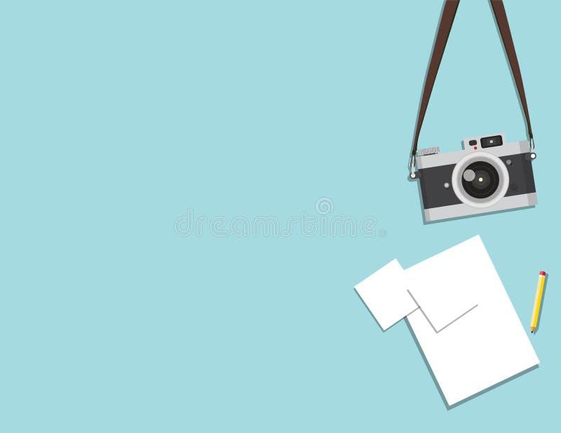 减速火箭的照相机和纸 皇族释放例证