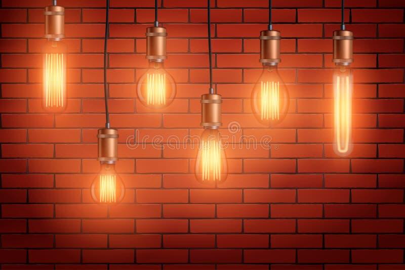 减速火箭的爱迪生电灯泡集合 向量例证