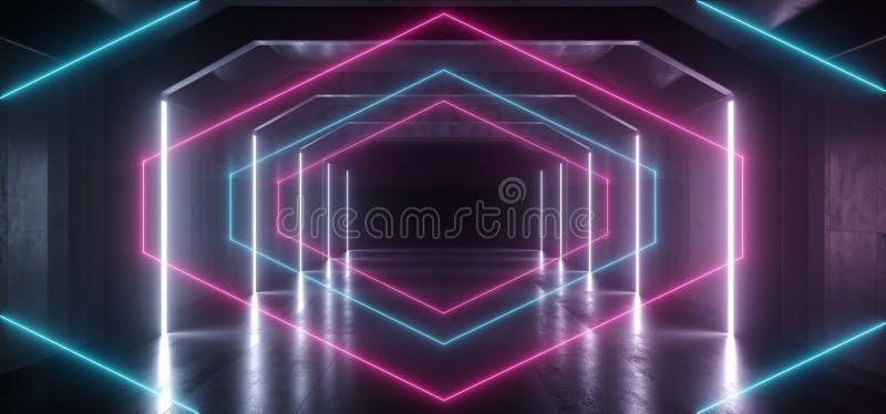 减速火箭的现代未来派紫色蓝色红色科学幻想小说充满活力的霓虹灯形状激光束难看的东西混凝土反射性隧道走廊 向量例证