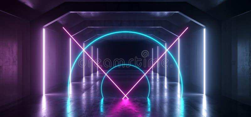 减速火箭的现代未来派紫色蓝色红色科学幻想小说充满活力的霓虹灯形状激光束难看的东西混凝土反射性隧道走廊 皇族释放例证