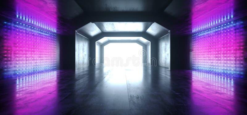 减速火箭的现代未来派紫色蓝色红色科学幻想小说充满活力的霓虹灯形状激光束难看的东西混凝土反射性隧道走廊 库存例证