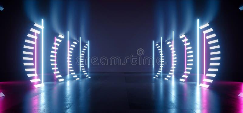 减速火箭的现代未来派紫色蓝色红色科学幻想小说充满活力的霓虹灯长圆形塑造激光束难看的东西具体反射性隧道 向量例证