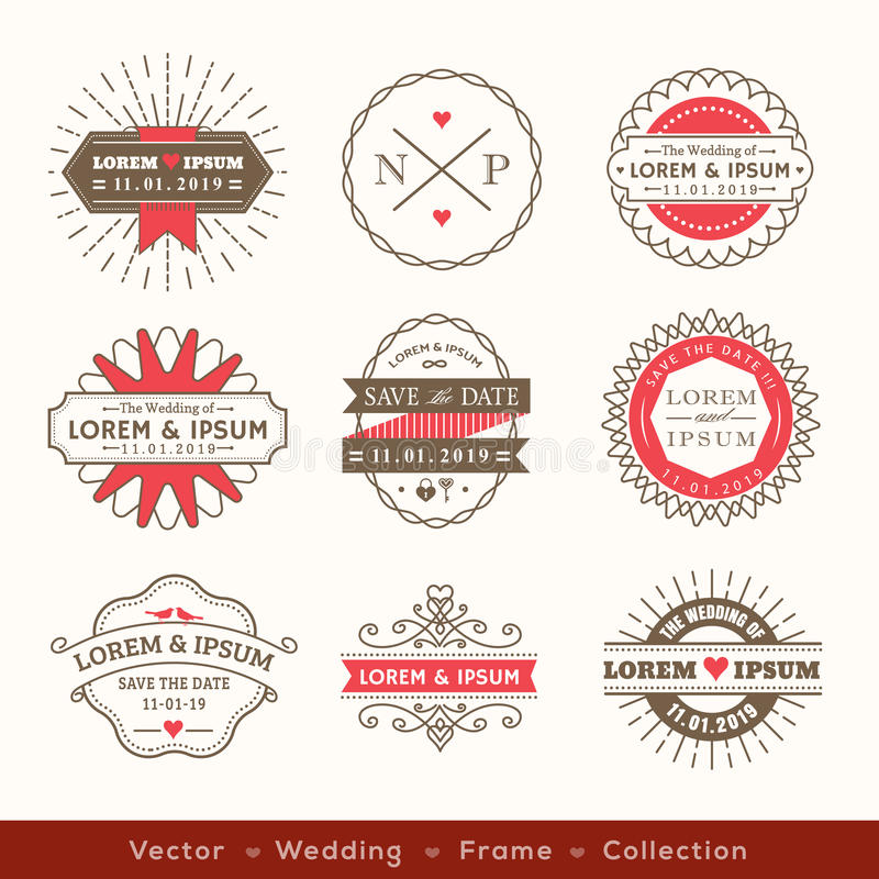 减速火箭的现代行家婚礼商标框架徽章设计 皇族释放例证