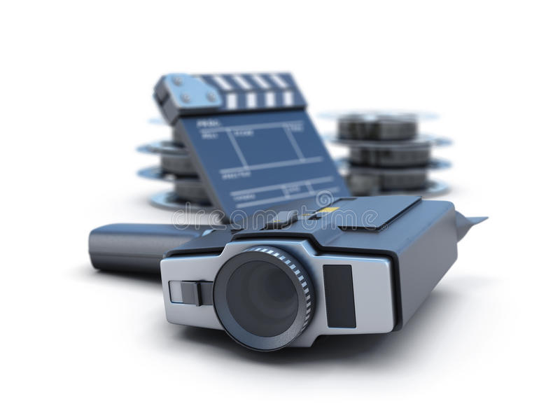 减速火箭的电影摄影机拍板和影片轴 向量例证