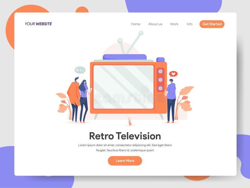 减速火箭的电视例证概念登陆的页模板  网页设计的现代设计概念网站和机动性的 免版税图库摄影