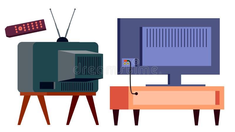减速火箭的电视对现代HD等离子传染媒介 堕落 lcd盘区和葡萄酒老模拟量显示屏幕 被隔绝的动画片 库存例证