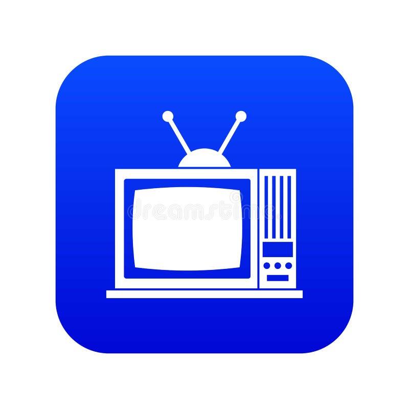 减速火箭的电视象数字蓝色 向量例证