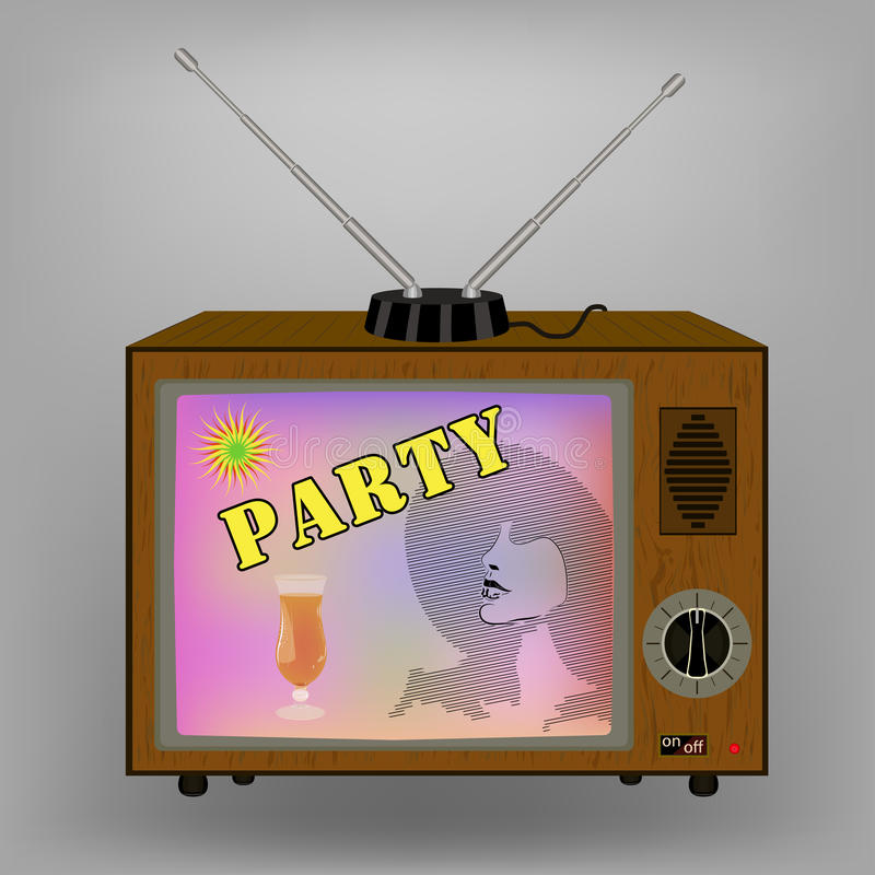 减速火箭的电视 做广告与在电视的一个鸡尾酒会 开关和天线 库存例证