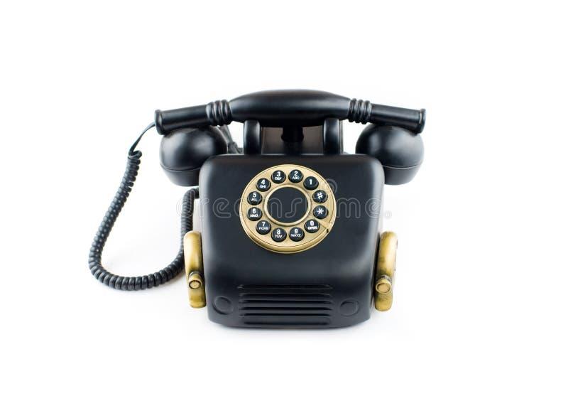 黑减速火箭的电话-被隔绝的葡萄酒电话    库存图片