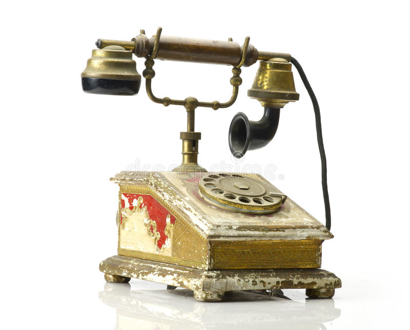 减速火箭的电话-被隔绝的葡萄酒电话 库存照片