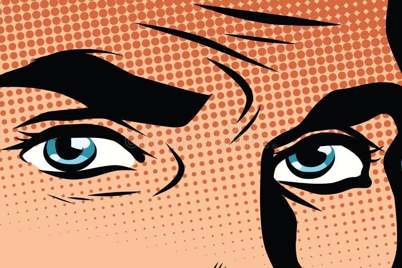 减速火箭的男性蓝眼睛流行艺术 向量例证