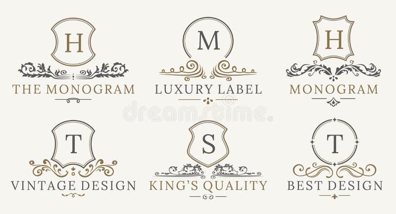 减速火箭的皇家葡萄酒盾略写法集合 传染媒介calligraphyc豪华商标设计元素 企业标志,商标 向量例证