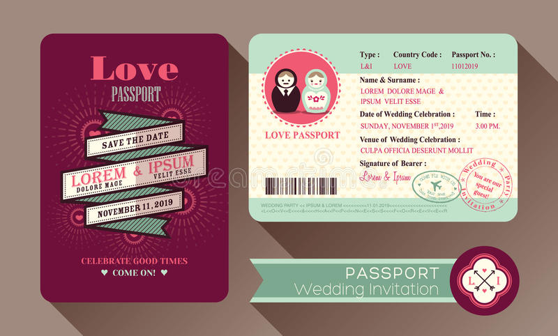 减速火箭的签证护照婚礼邀请卡片 向量例证