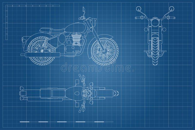 减速火箭的经典摩托车图纸在概述样式的 边,顶面和正面图 摩托车工业图画  向量例证