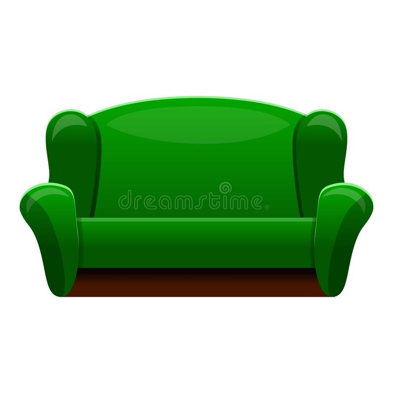 减速火箭的绿色沙发象,动画片样式 皇族释放例证