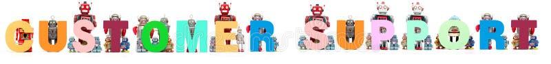 减速火箭的罐子机器人玩具阻止词用户支持 免版税库存照片