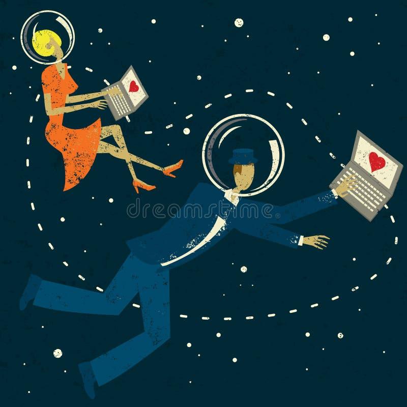 减速火箭的网际空间夫妇 向量例证