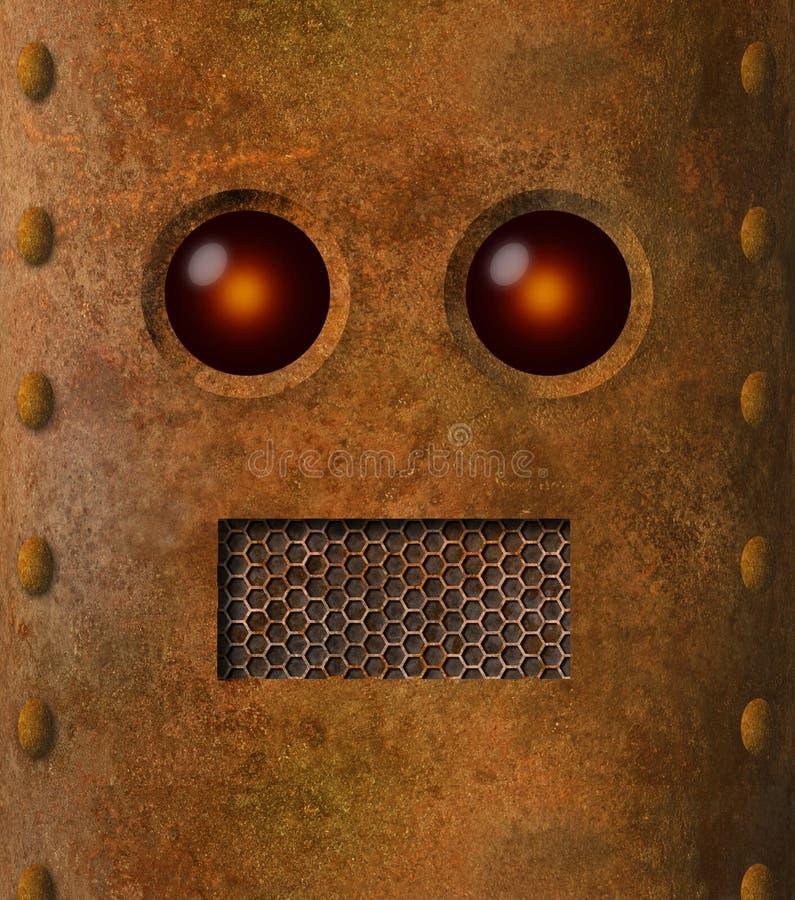 减速火箭的脏的生锈的机器人面孔 库存例证