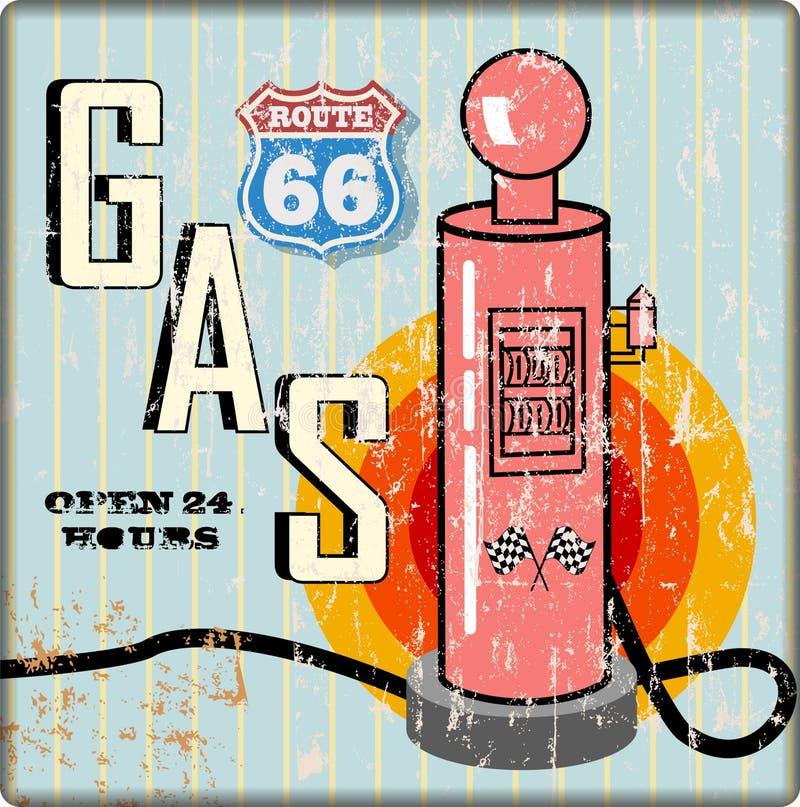 减速火箭的脏的路线66加油站标志 向量例证