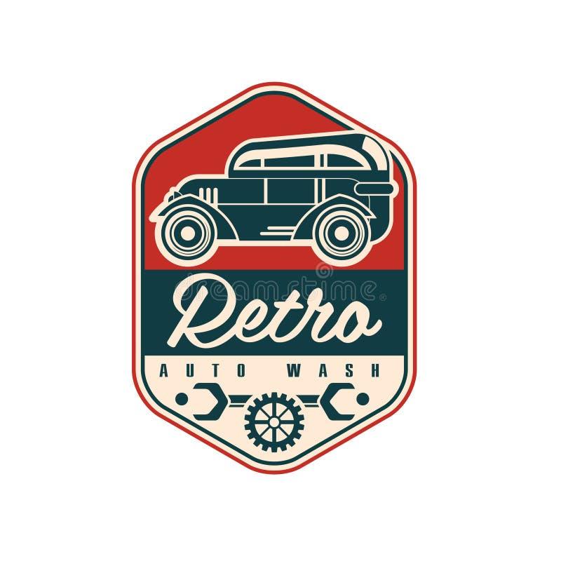 减速火箭的自动洗涤商标设计,汽车服务徽章,在白色背景的减速火箭的葡萄酒标签传染媒介例证 皇族释放例证