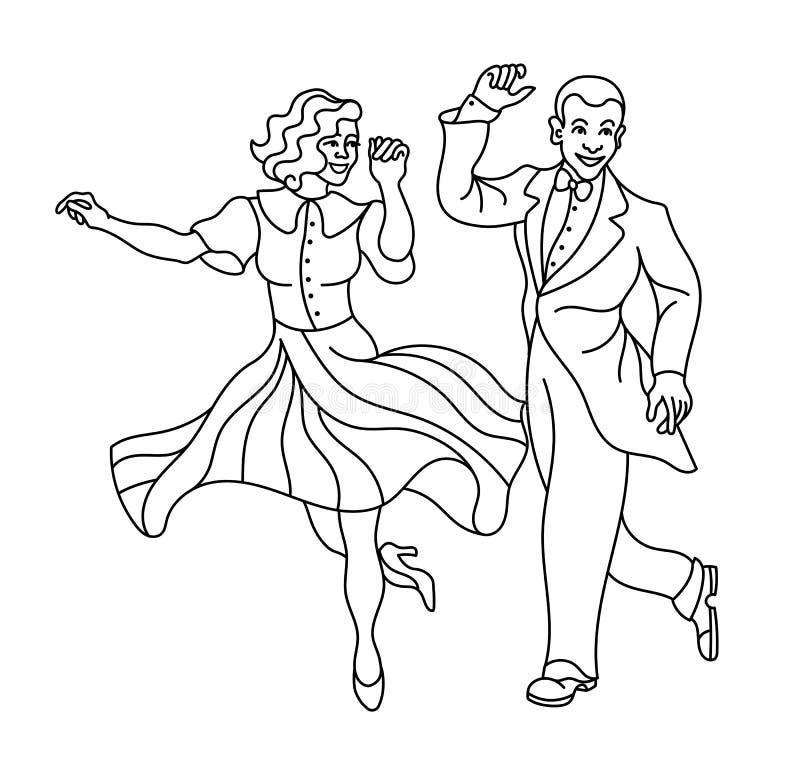 减速火箭的舞蹈夫妇剪影 葡萄酒剪影舞蹈家 查尔斯顿党舞蹈在白色隔绝的葡萄酒人 向量例证