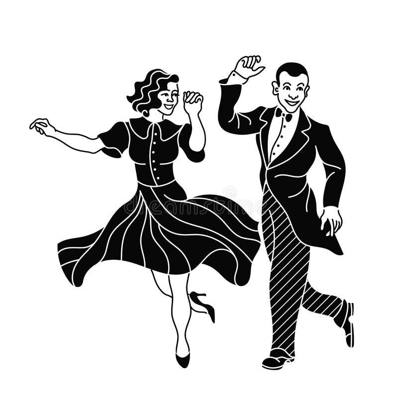 减速火箭的舞蹈夫妇剪影 葡萄酒剪影舞蹈家 查尔斯顿党舞蹈葡萄酒 向量例证