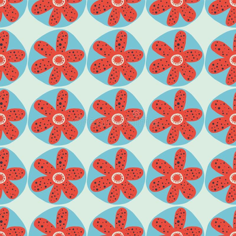 减速火箭的花无缝的传染媒介背景 20世纪60年代,20世纪70年代花卉设计 在蓝色背景的红色和蓝色乱画花 困厄 库存例证