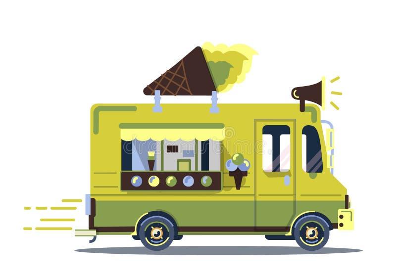 减速火箭的葡萄酒冰淇凌卡车 免版税图库摄影
