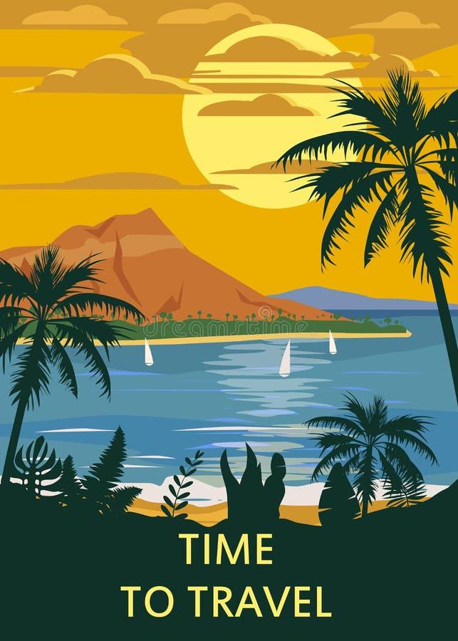 减速火箭的葡萄酒时间旅行样式旅行海报或贴纸 热带海岛天堂日落、海洋、海滩和棕榈 向量例证