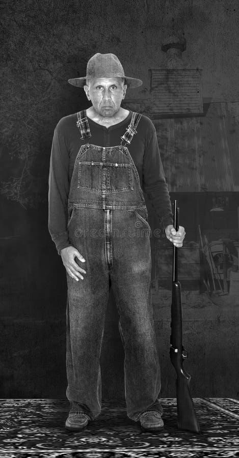 减速火箭的葡萄酒美国东南部山区的农民画象摄影 免版税库存图片