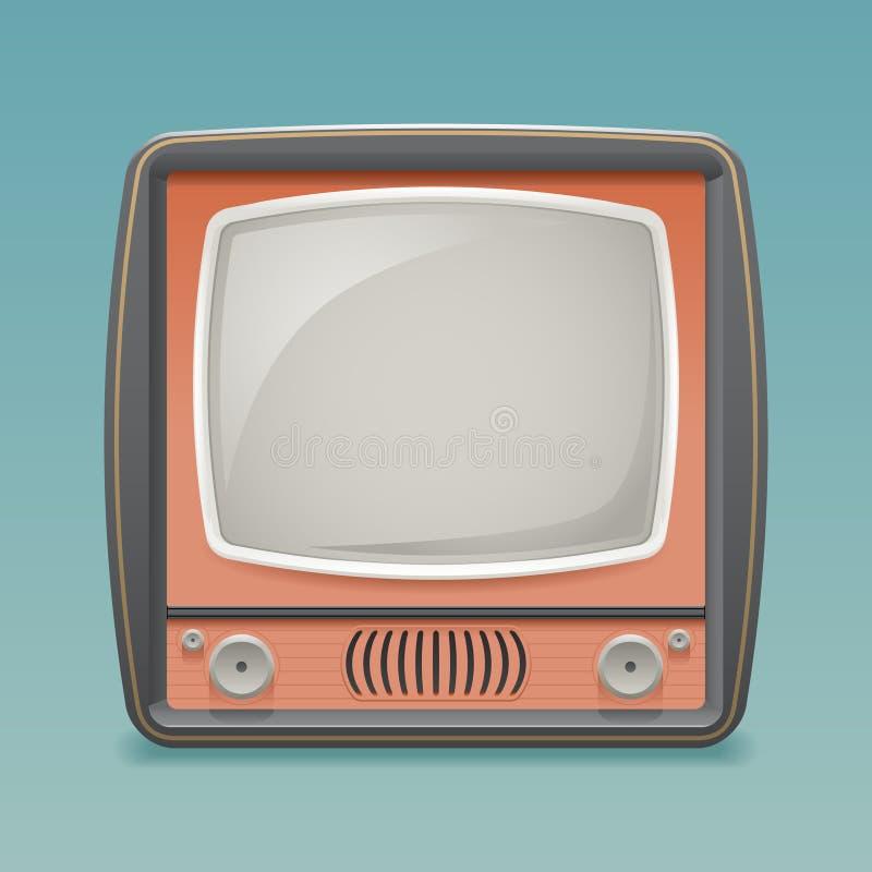 减速火箭的葡萄酒老电视占位符框架象现实3d平的设计模板传染媒介例证 皇族释放例证