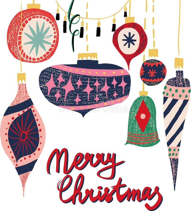 减速火箭的葡萄酒斯堪的纳维亚图表可爱的寒假新年拼贴画样式圣诞树