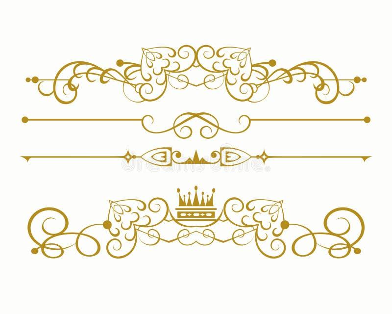 减速火箭的葡萄酒设计元素 标志,冠,书法,您的设计的分切器 库存例证