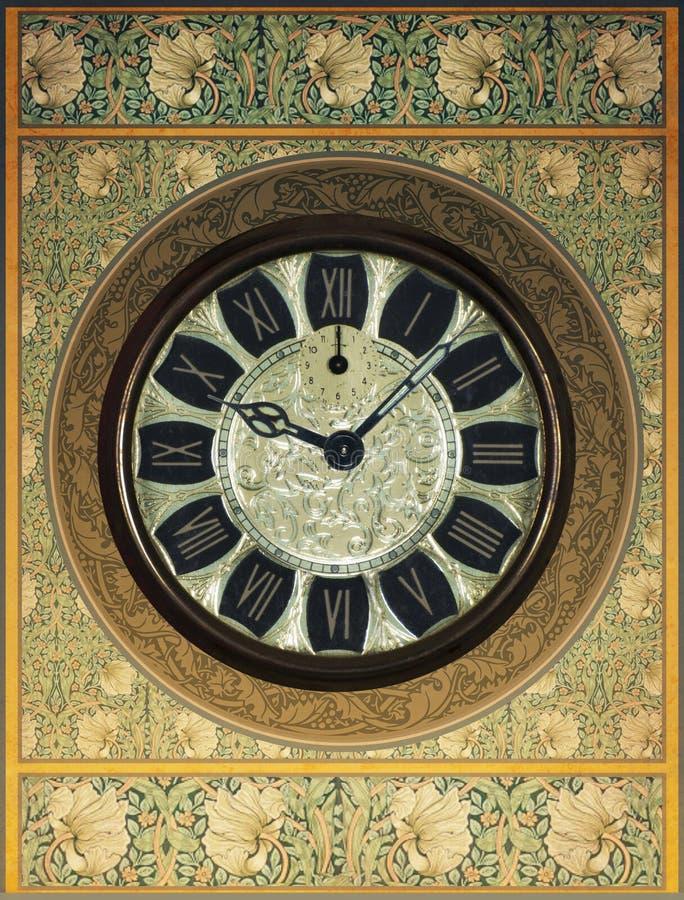 减速火箭的葡萄酒Steampunk时钟背景 库存图片