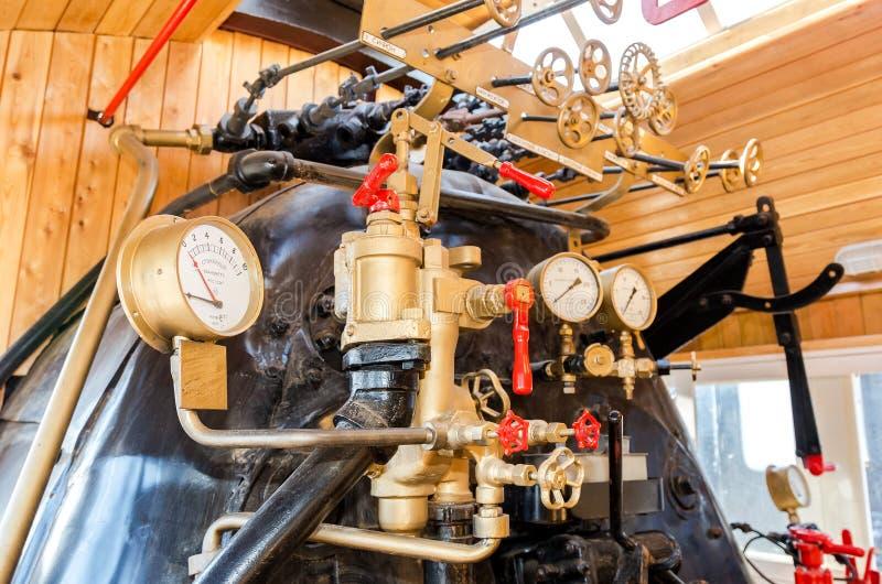 减速火箭的蒸汽机车锅炉用工程学设备 免版税库存照片
