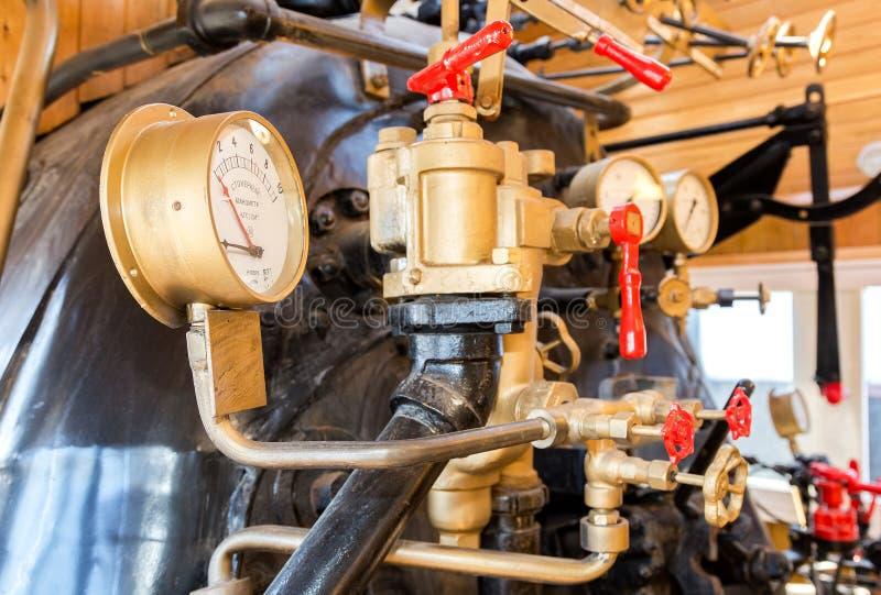 减速火箭的蒸汽机车锅炉用工程学设备 图库摄影