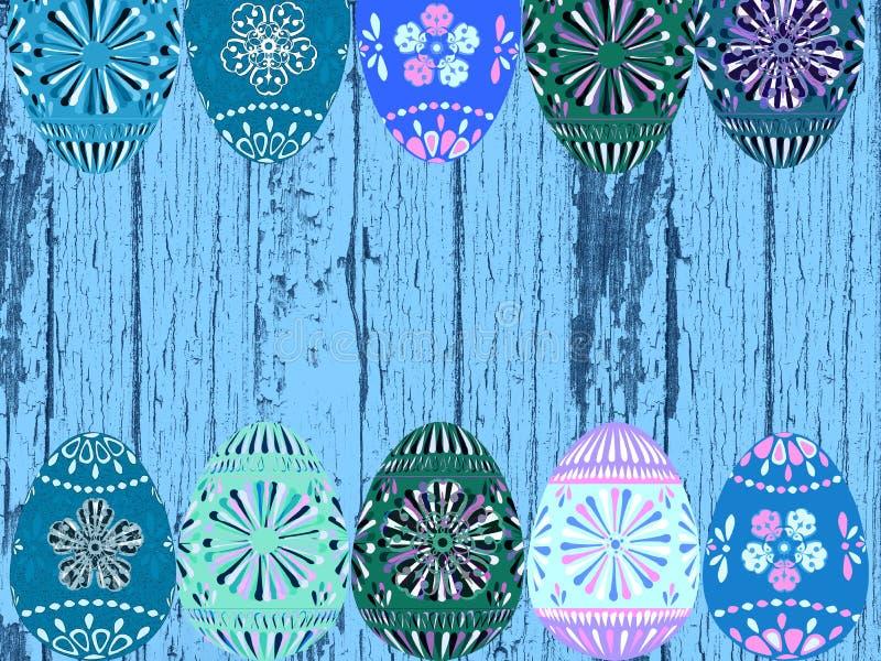 减速火箭的蓝色木头和复活节彩蛋背景纹理 皇族释放例证