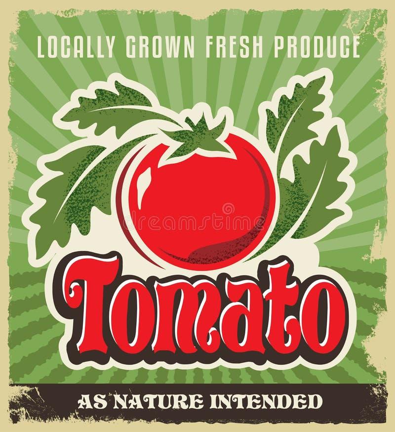 减速火箭的蕃茄葡萄酒广告海报-金属化标志并且标记设计 向量例证