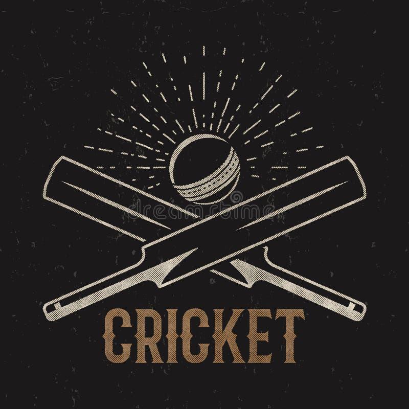 减速火箭的蟋蟀俱乐部象征设计 生态学范围房子图标徽标 荒地 炫耀与齿轮,设备的标志 发球区域 衬衣 T- 印刷品样式 皇族释放例证