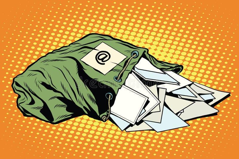 减速火箭的袋子有信件的邮差 皇族释放例证