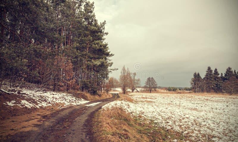减速火箭的被定调子的平安的农村风景 免版税库存照片