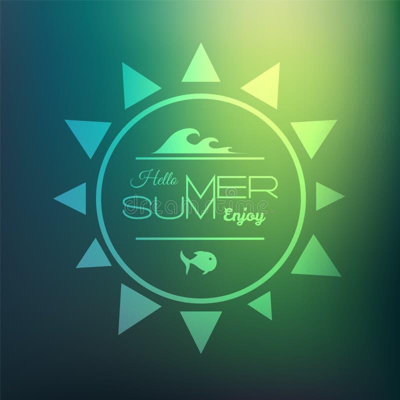 减速火箭的被称呼的夏天书法设计卡片 向量例证