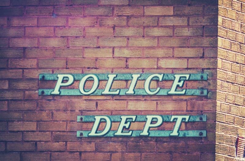 减速火箭的警察局标志 免版税库存照片