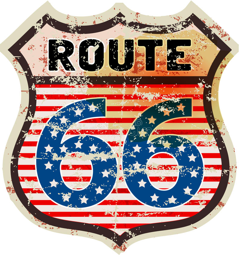 减速火箭的路线66路标 皇族释放例证