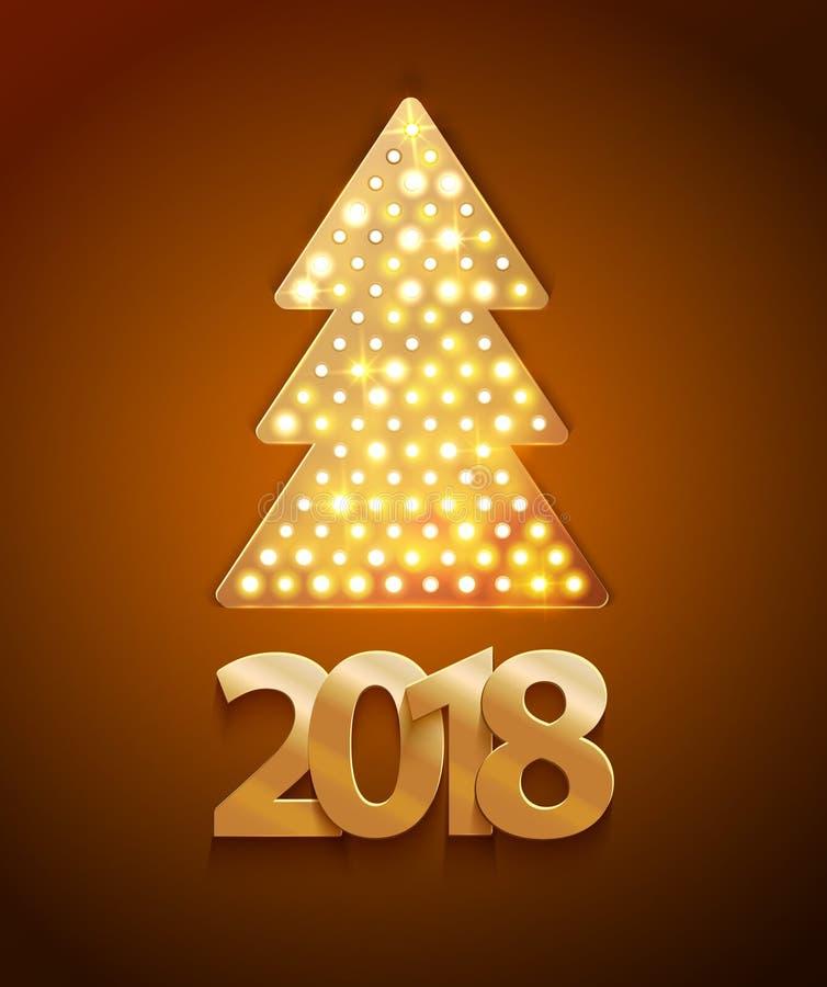减速火箭的轻的横幅与2017新年标志的一棵圣诞树 向量例证