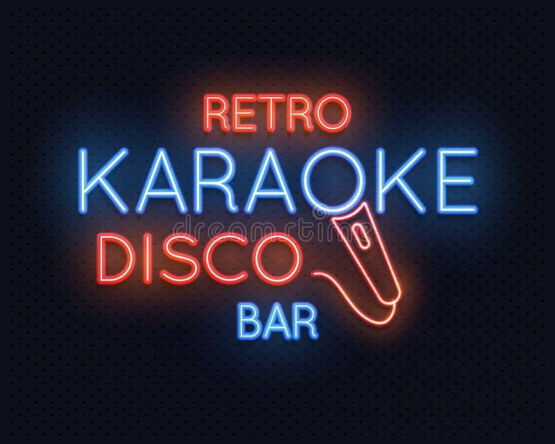 减速火箭的迪斯科卡拉OK演唱酒吧霓虹灯标志传染媒介例证 向量例证