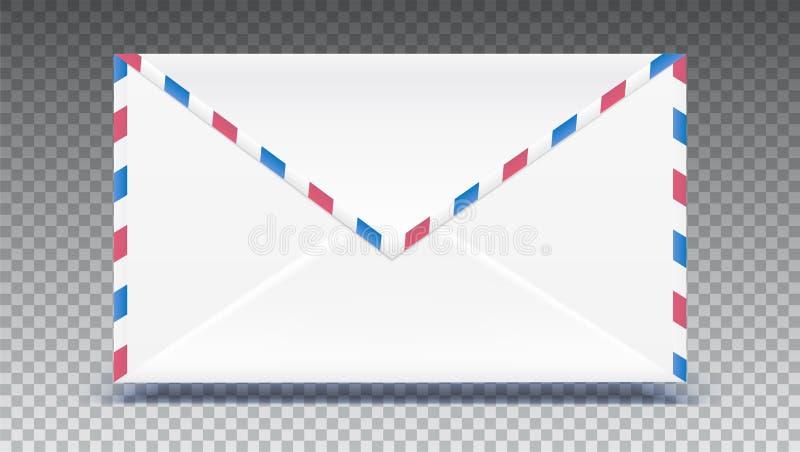 减速火箭的邮件信封 塑造与被隔绝的纹理作用对透明背景 传染媒介3D例证,准备为 库存例证