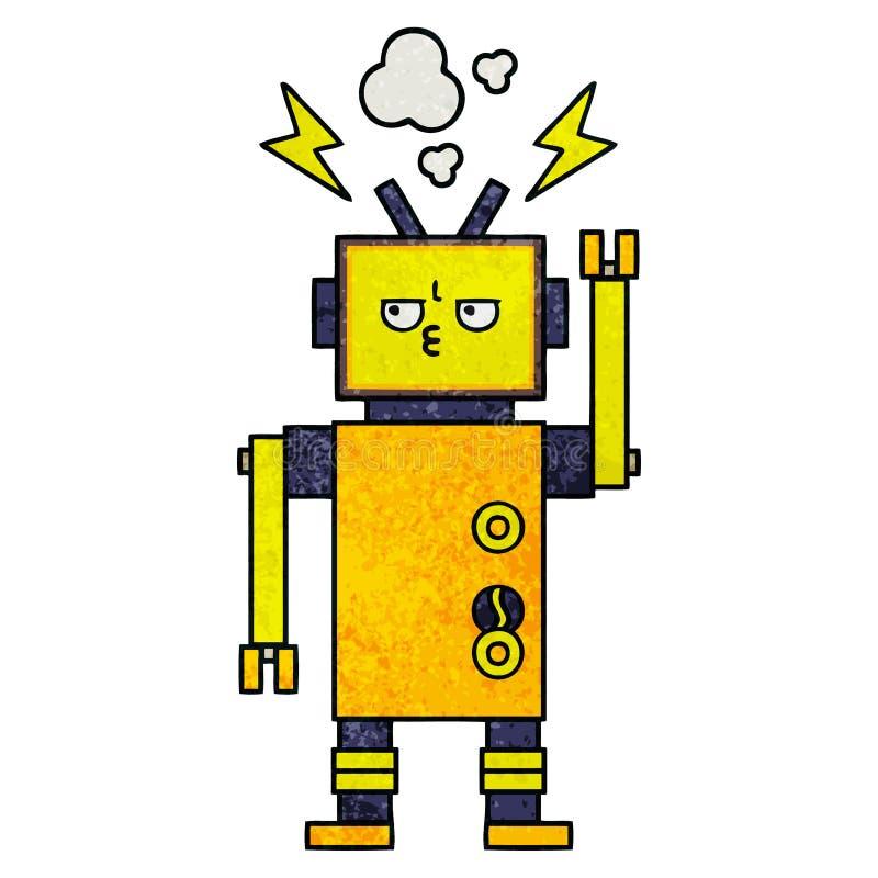 减速火箭的难看的东西纹理动画片发生故障的机器人 皇族释放例证